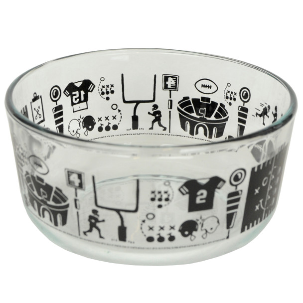 Pyrex 7201 4 Cup Glass Bowl with Football Fanatic Design