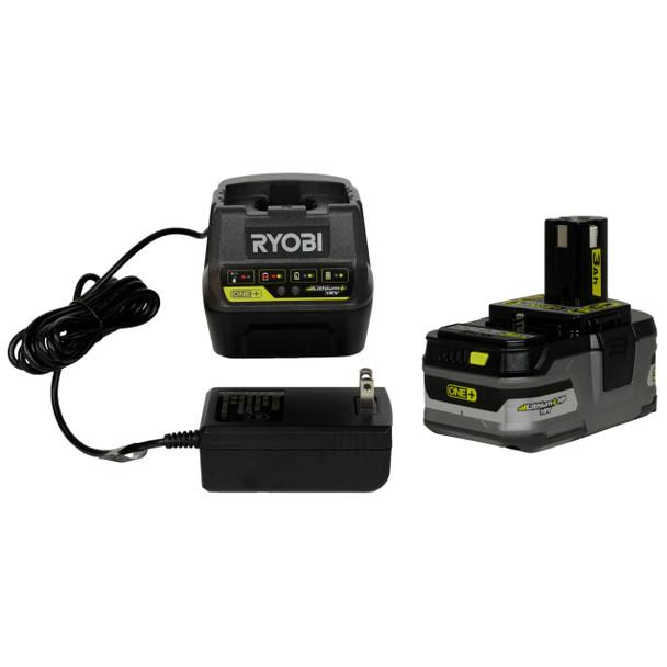 Ryobi (1) P118B 18V Battery Charger and (1) Ryobi P191 18V 3Ah Lithium Ion Battery Pack
