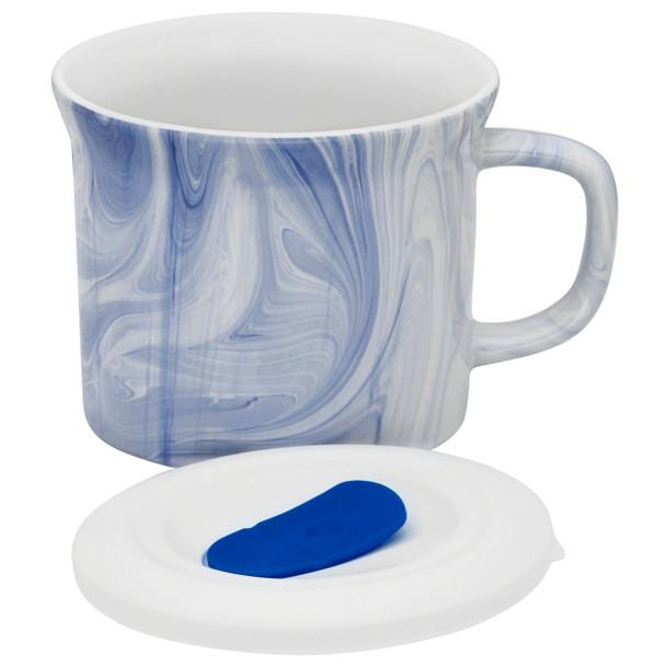Corningware 1127566 20 oz Blue Marble Meal Mug with Lid