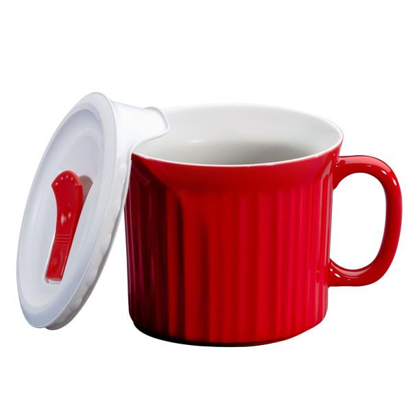 Corningware 1105118 20 oz Red Meal Mug with Lid