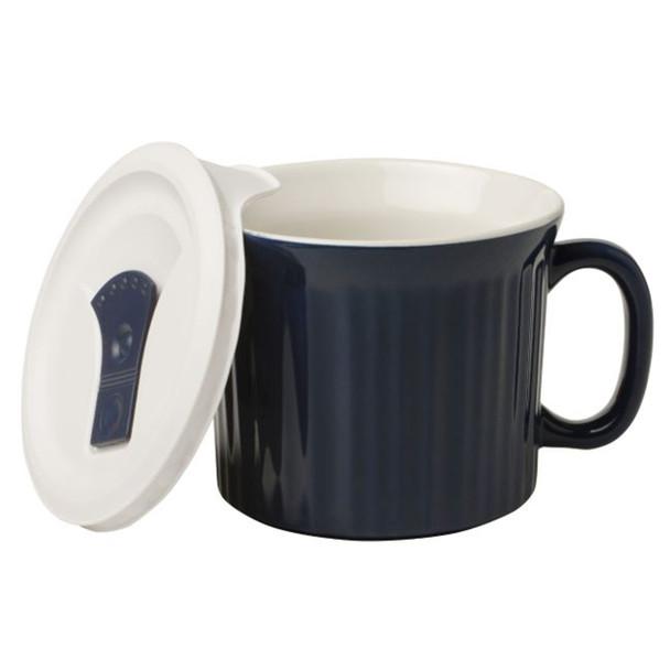 Corningware 1123451 20 oz Navy Blue Meal Mug with Lid
