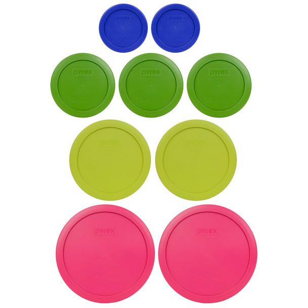 Pyrex Replacement 7202 Cadet Blue 1C, 7200 Green 2C, 7201 Edamame Green 4C, 7402 Fuchsia 7C Lids