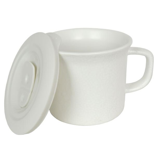 Corningware 1127557 20 oz Hammered White Meal Mug with Lid