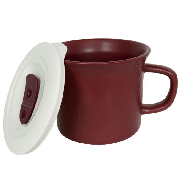 Corningware 1127559 20 oz Hammered Maroon Meal Mug with Lid