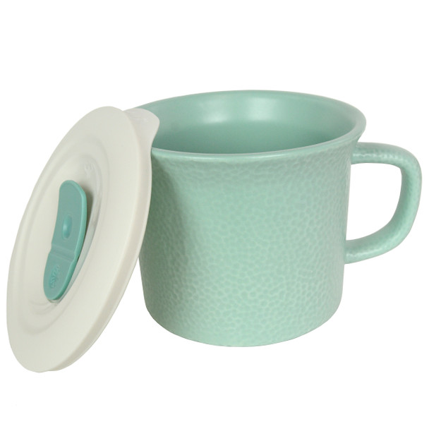 Corningware 1127560 20 oz Hammered Sage Green Meal Mug with Lid