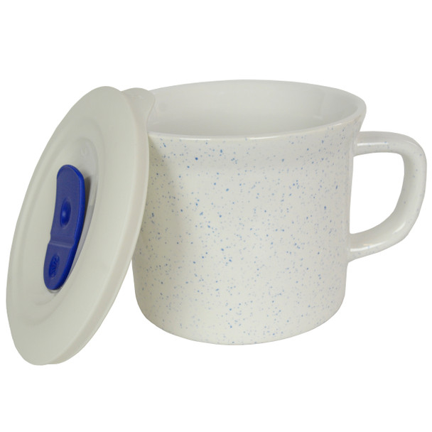 Corningware 1127565 20 oz Marine Blue Speckled Meal Mug with Lid
