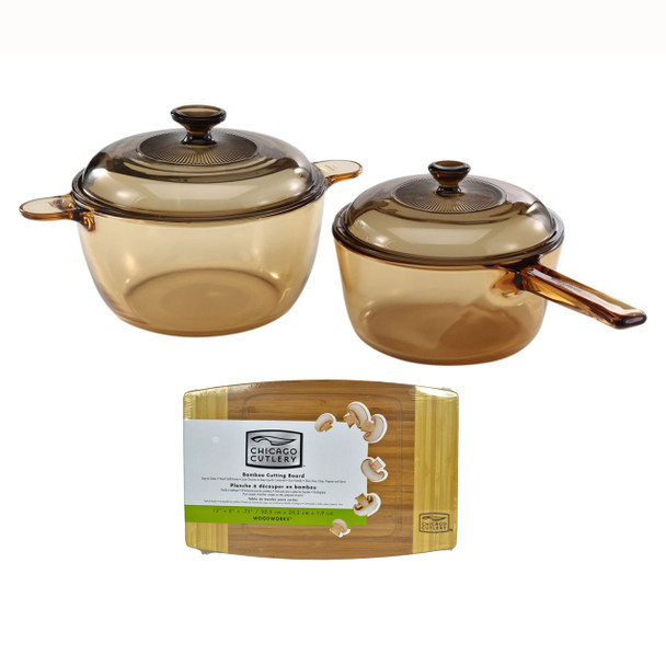 """Visions 1094316 4pc Glass Cookware Set & Chicago Cutlery 1074564 12"""" x 8"""" x 3/4"""" Bamboo Cutting Board"""