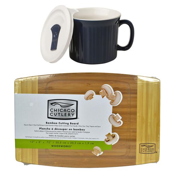 """Corningware 1123451 20oz Navy Blue Meal Mug w/Lid & Chicago Cutlery 1074564 12 """"x 8"""" x 3/4"""" Bamboo Cutting Board"""