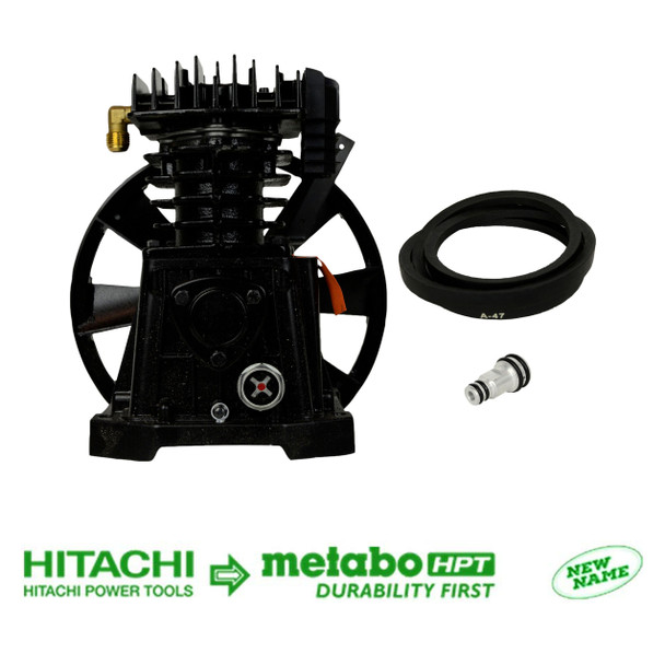 Metabo HPT/Hitachi 885-443 Pumping Unit with Flywheel & 885-444 Belt & 885-483 Breather Pipe Plug