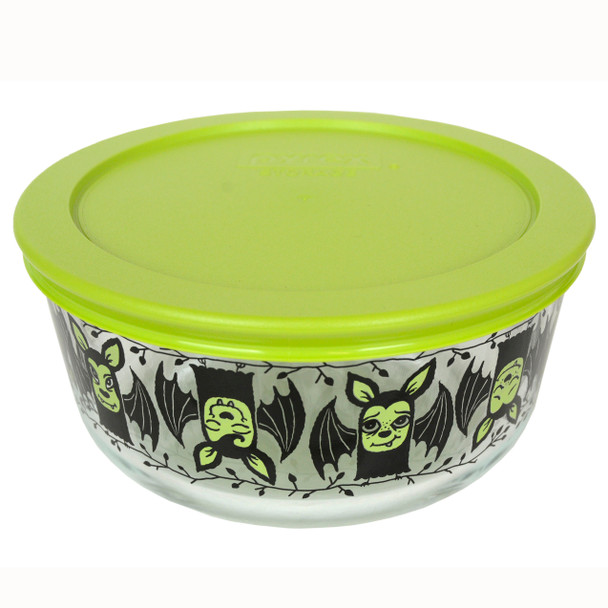 Pyrex 7201 4-Cup Bats Glass Bowl and 7201-PC Edamame Green Plastic Lid Cover