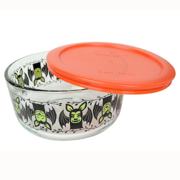 Pyrex  7201 4-Cup Bats Glass Bowl and 7201-PC Pumpkin Orange Plastic Lid Cover