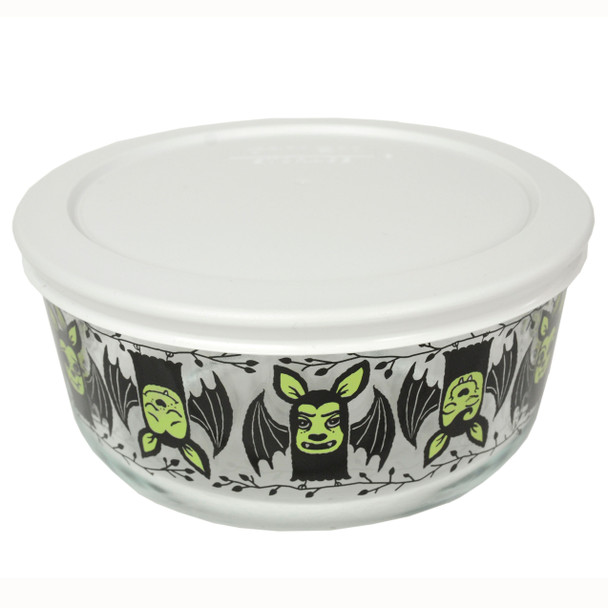 Pyrex 7201 4-Cup Bats Glass Bowl and 7201-PC White Round Plastic Lid Cover