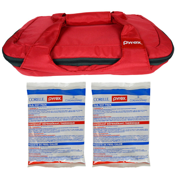 Pyrex (1) Portables Red Carry Tote with (2) Large Hot/Cold Packs