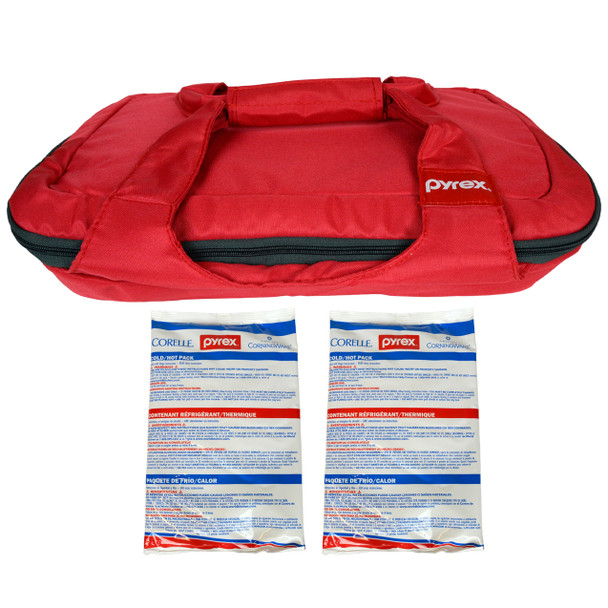 Pyrex (1) Portables Red Carry Tote with (2) Small Hot/Cold Packs