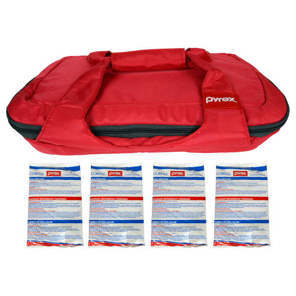 Pyrex (1) Portables Red Carry Tote with (4) Small Hot/Cold Packs