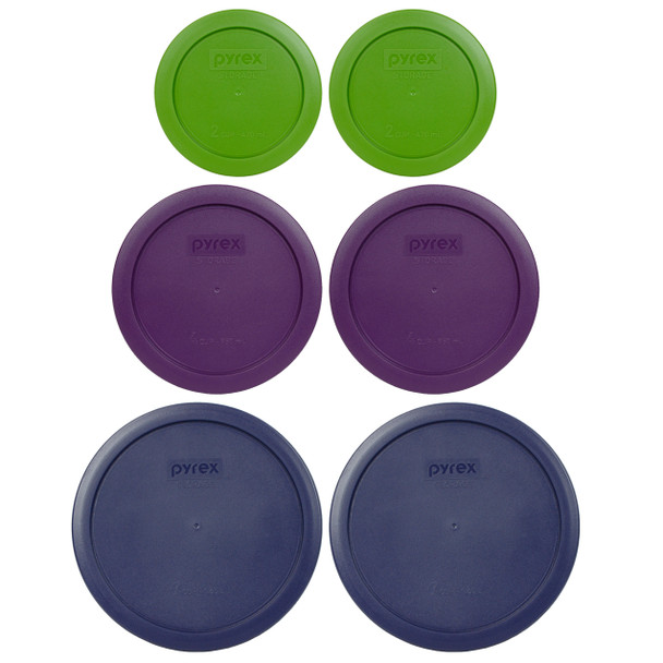 Pyrex (2) 7200-PC Lawn Green, (2) 7201-PC Purple, and (2) 7402-PC Blue Round Plastic Replacement Lids