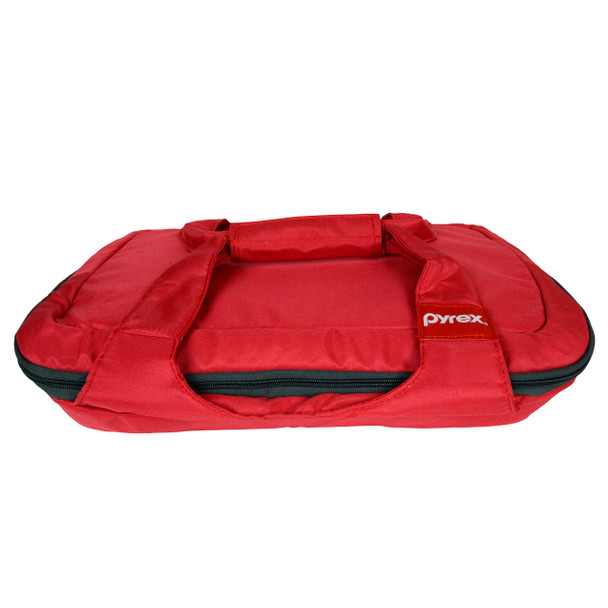 Pyrex Portables Red with Grey Zipper Carry Tote