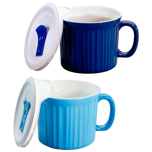 Corningware 1105119 20oz Blue & 1114682 20oz Light Blue Meal Mugs with Lids