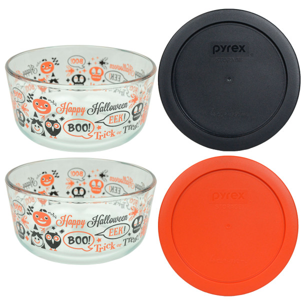 Pyrex 7201 4-Cup Spooky Fun Glass Bowls w/ 7201-PC Black and Pumpkin Orange Round Plastic Lid Cover