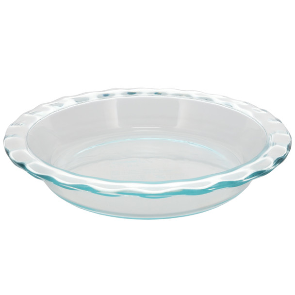 "Pyrex 1085800 9.5"" Round Fluted Rim Glass Baking Pie Plate"