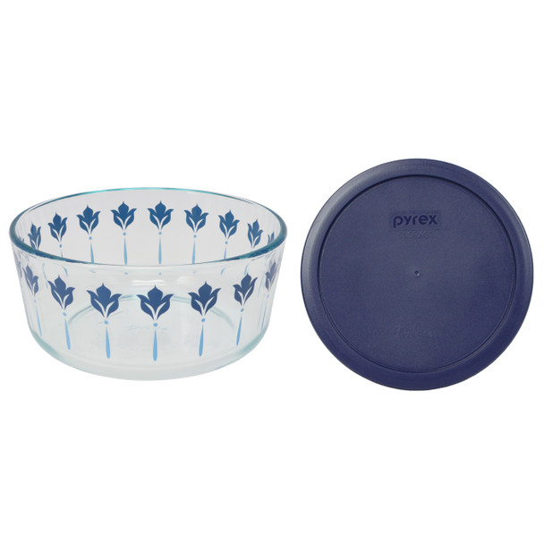 Pyrex 7203 7 Cup Blue and Teal Flower Glass Dish W/ 7402-PC Dark Blue Lid Cover