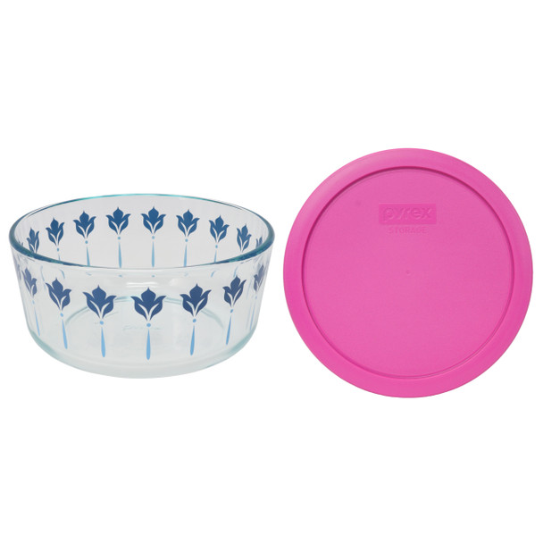 Pyrex 7203 7 Cup Blue and Teal Flower Glass Dish W/ 7402-PC Pink Lid Cover
