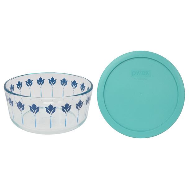 Pyrex 7203 7 Cup Blue and Teal Flower Glass Dish W/ 7402-PC Turquoise Lid Cover