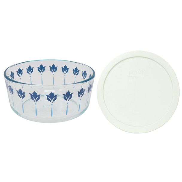 Pyrex 7203 7 Cup Blue and Teal Flower Glass Dish W/ 7402-PC White Lid Cover