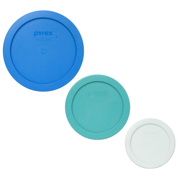 Pyrex 7201-PC Marine Blue 7200-PC Turquoise 7202-PC White Replacement Lids