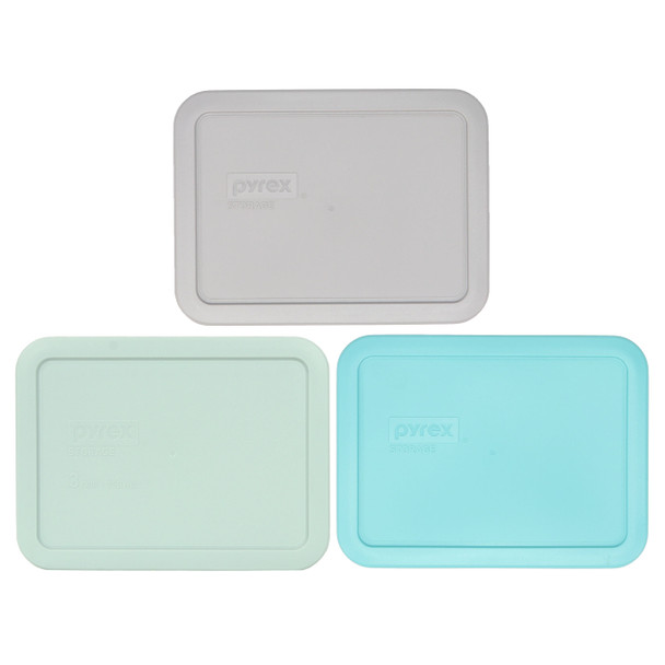 Pyrex 7210-PC 3 Cup Jet Gray, 7210-PC Muddy Aqua, and 7210-PC Sun Bleached Turquoise Plastic Food Storage Replacement Lids