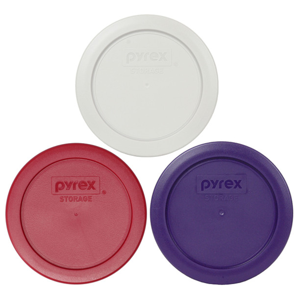 Pyrex 7200-PC Sleek Silver, Plum Purple, and Sangria Red Replacement Lid Covers