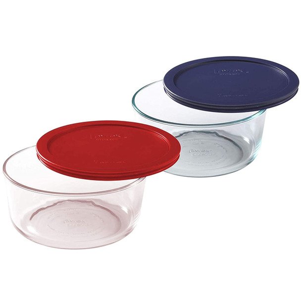 Pyrex 7203 7-Cup Round Glass Food Storage Bowls w/ 7402-PC 7-Cup Dark Blue & Red Lid Covers