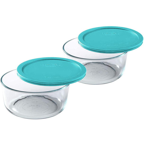 Pyrex 7203 7-Cup Round Glass Food Storage Bowls w/ 7402-PC 7-Cup Turquoise Lid Covers