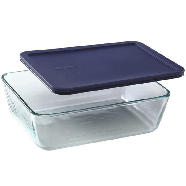 Pyrex 7212 11-Cup Rectangle Glass Food Storage Dish w/ 7212-PC 11-Cup Dark Blue Lid Cover