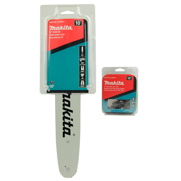 """Makita 199075-5 10-in 3/8"""" .043"""" Saw Chain & 161846-0 10"""" 3/8"""" .043"""" Guide Bar for Chainsaw Model XCU06Z"""