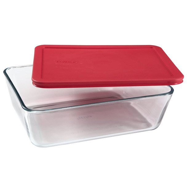 Pyrex 7212 11-Cup Rectangle Glass Food Storage Dish w/ 7212-PC 11-Cup Red Lid Cover