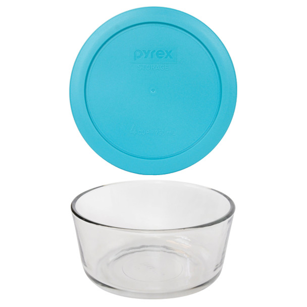 Pyrex 7201 4-Cup Round Glass Food Storage Bowl w/ 7201-PC 4-Cup Surf Blue Lid Cover