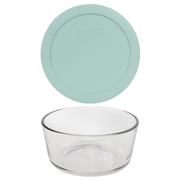 Pyrex 7201 4- Cup Round Glass Food Storage Bowl w/ 7201-PC 4-Cup Muddy Aqua Lid Cover