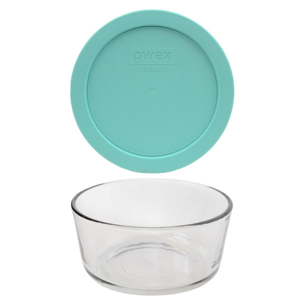 Pyrex 7201 4-Cup Round Glass Food Storage Bowl w/ 7201-PC 4-Cup Sun Bleached Turquoise Lid Cover