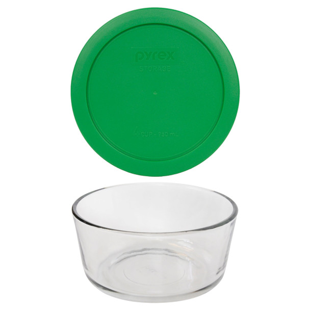 Pyrex 7201 4-Cup Round Glass Food Storage Bowl w/ 7201-PC 4-Cup Clover Green Lid Cover