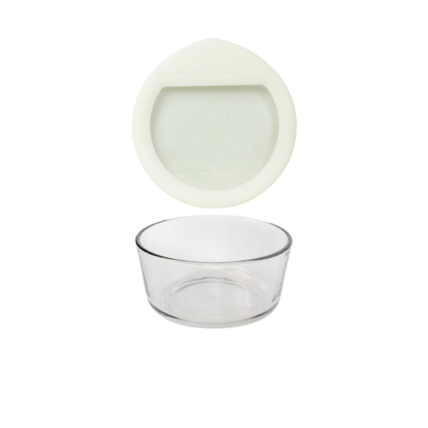 Pyrex 7201 4-Cup Glass Storage Bowl w/ Pyrex OV-7201 4-Cup White Silicone Glass lid