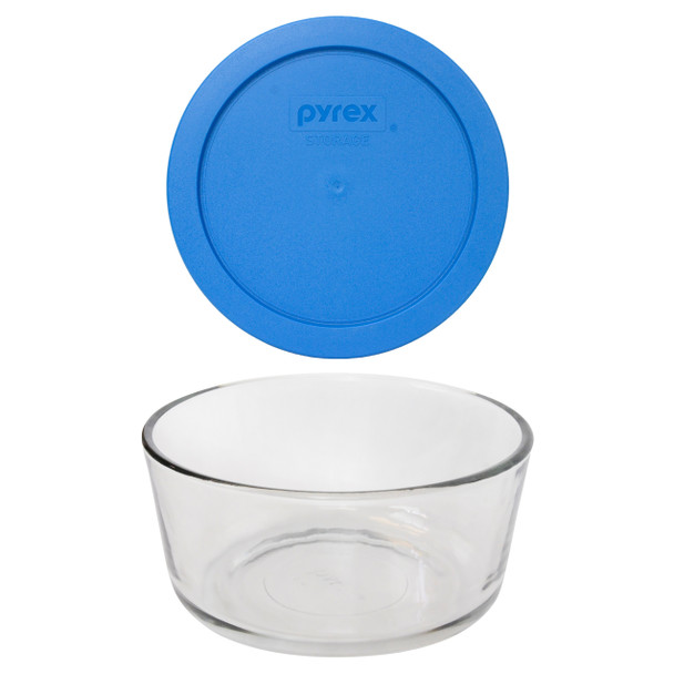 Pyrex 7201 4-Cup Round Glass Food Storage Bowl w/ 7201-PC 4-Cup Marine Blue Lid Cover