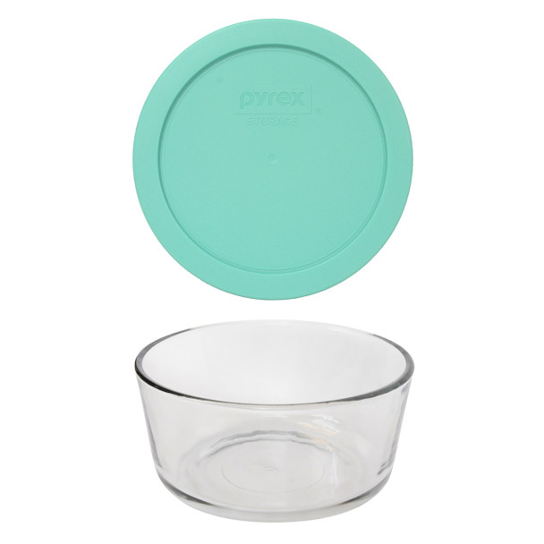 Pyrex 7201 Round Glass Food Storage Bowl w/ 7201-PC Sea Glass Green Lid Cover