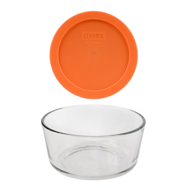Pyrex 7201 Round Glass Food Storage Bowl w/ 7201-PC Orange Lid Cover
