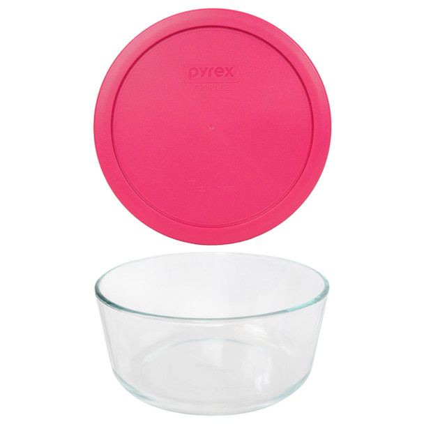 Pyrex 7203 7-Cup Round Glass Food Storage Bowl w/ 7402-PC 7-Cup Fuchsia Pink Plastic Lid Cover