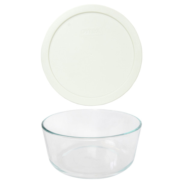 Pyrex 7203 7-Cup Round Glass Food Storage Bowl w/ 7402-PC 7-Cup White Plastic Lid Cover