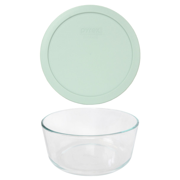 Pyrex 7203 7-Cup Round Glass Food Storage Bowl w/ 7402-PC 7-Cup Muddy Aqua Plastic Lid Cover