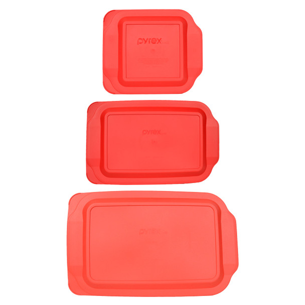 Pyrex 234-PC 4qt Red Lid, Pyrex 233-PC 3qt Red Lid, and Pyrex 222-PC 2qt Red Lid