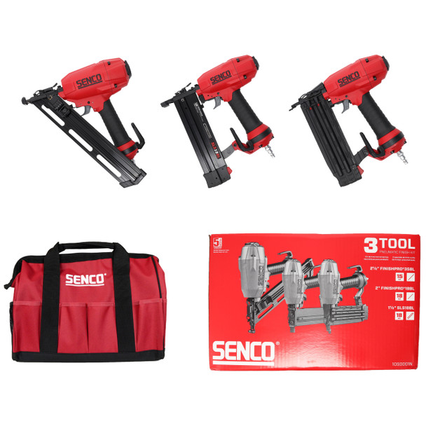 Senco FinishPro Pneumatic Nailer and Stapler 3-Tool kit with Tool Carrying Tote Bag