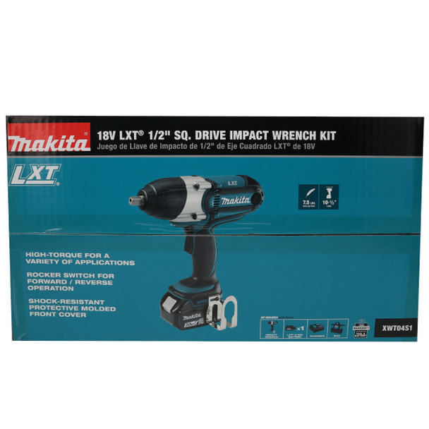 Makita XWT04S1 18V Lithium-Ion Cordless 1/2 in Sq Drive Impact Wrench Kit